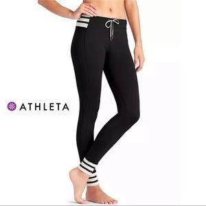 Athleta Women's Pant Black Cream Varsity Striped M